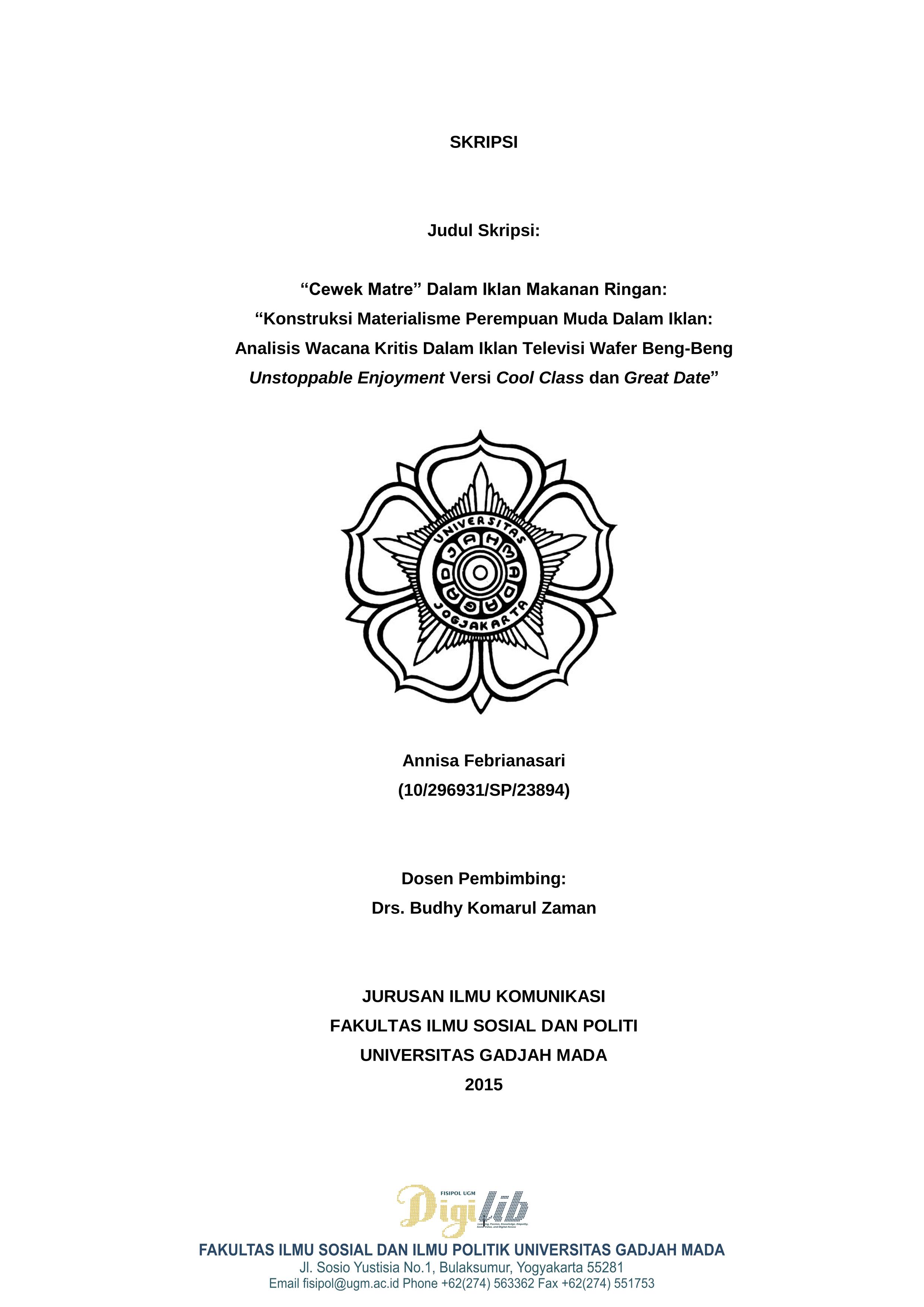 Digilib Fisipol Ugm Yogyakarta Indonesia Learning Passion Knowledge Empathy Social Value And Digital Access Cewek Matre Dalam Iklan Makanan Ringan Konstruksi Materialisme Perempuan Muda Dalam Iklan Analisis Wacana Kritis Dalam Iklan Televisi